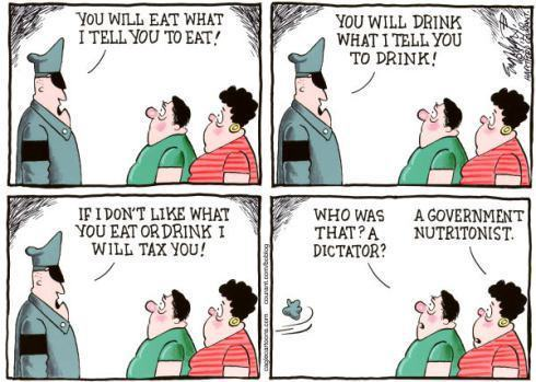 food police cartoon with the police saying to people exactly what to eat and the people asking if they are under a dictator and then finding out the police person is just a nutritionist