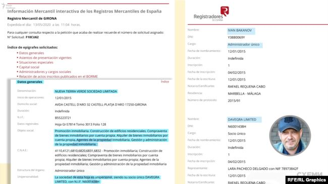 Іван Баканов з 2015 року обіймає посаду «administrador único» іспанської фірми Nueva Tierra Verde Sociedad Limitada