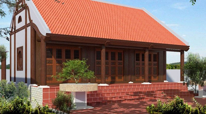 Mẫu số 1: mẫu mái nhà lợp ngói đẹp truyền thống