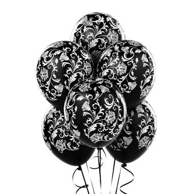 Black damask patterned balloons