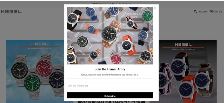 Hemel Watches Landing Page
