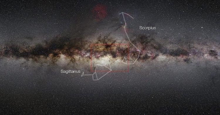 Hình ảnh góc rộng cho thấy khu vực trung tâm của Ngân Hà