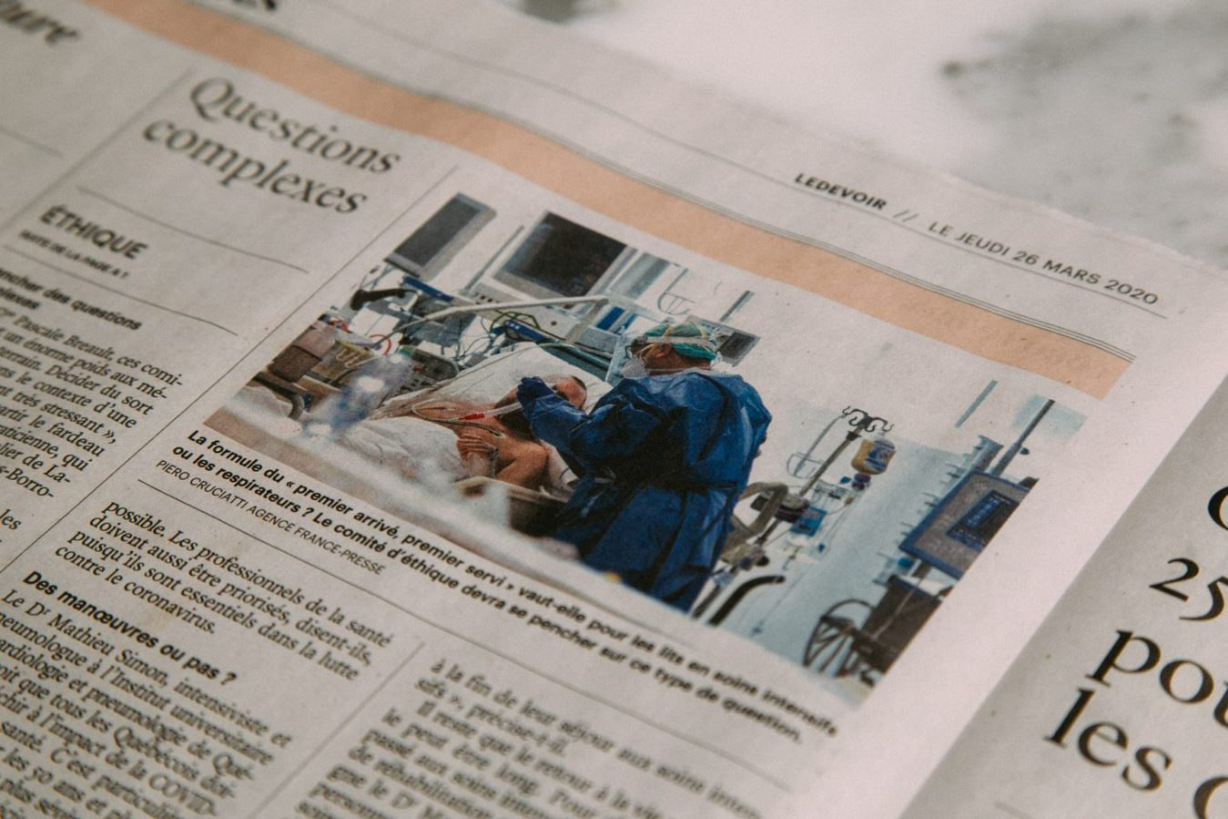 Newspaper article in a French newspaper