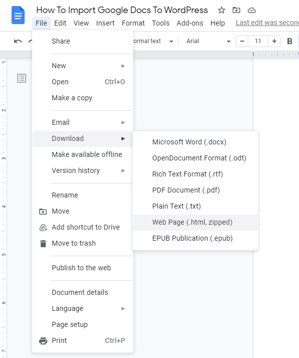 The File menu in Google Docs indicates where to find the Download as Web Page option.