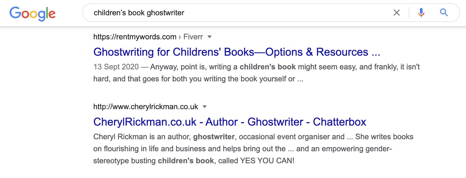 freelance ghostwriter examples