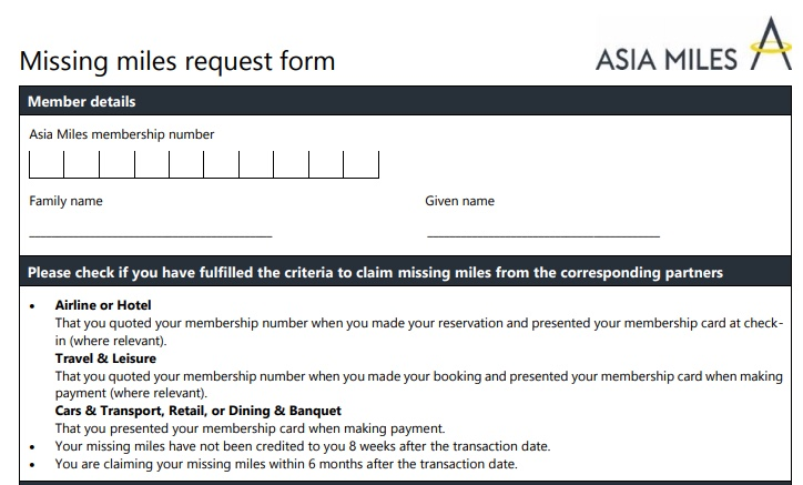 Claiming missing miles from Asia Miles partners