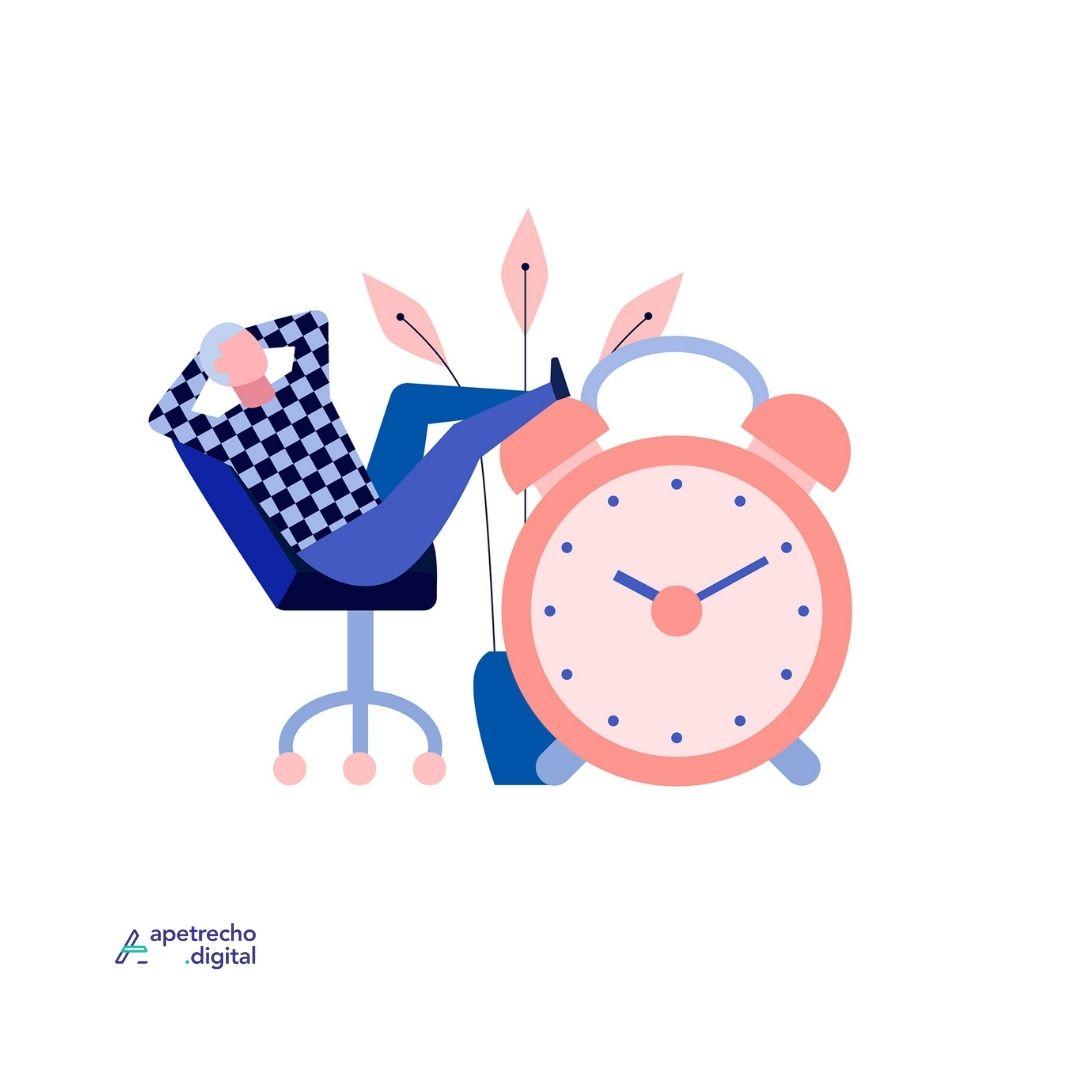 Ilustração de homem sentado com os pés apoiados em um relógio grande, tranquilo por ser organizado