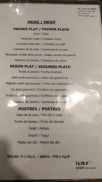 Restaurant Lavaix Avinguda de Victoriano Muñoz, 20, 25520 El Pont de Suert, Lleida