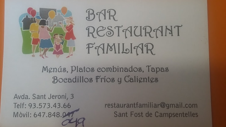 Bar Restaurant Familiar Av. Sant Jeroni, 3, 08105 Sant Fost de Campsentelles, Barcelona