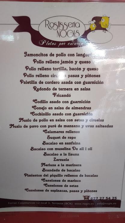 Rostisseria Nogis En Terrassa Carrer de Ferran Casablancas, 12, 08225 Terrassa, Barcelona