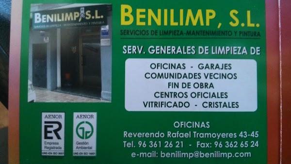 Benilimp, S. L. - Servicios de limpieza, mantenimiento y pintura