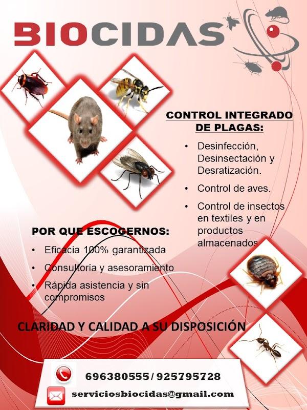BIOCIDAS CONTROL DE PLAGAS , DESINFECCIONES, DESINSECTACIONES, DESRATIZACIONES.