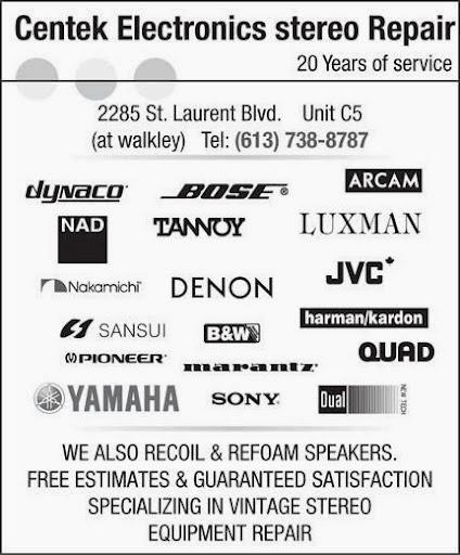 Electronics repair shop Centek Stereo Repair in Ottawa (ON) | LiveWay