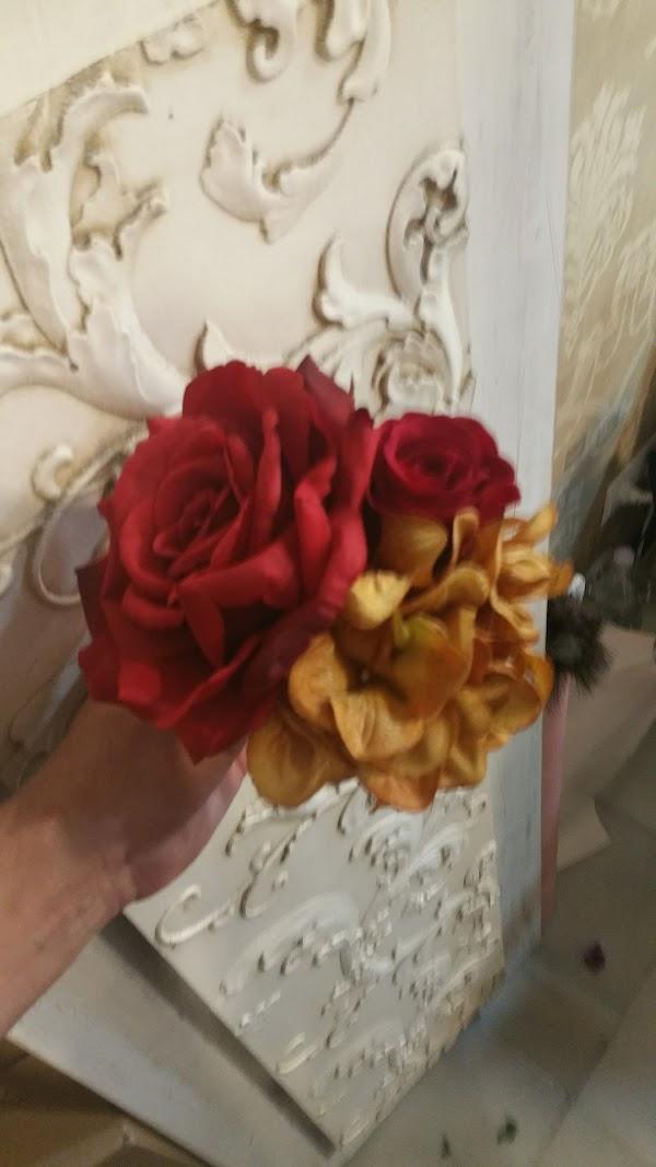 Bouquet Decoración. flores artificiales,flores de flamenca,flor mini para coronitas.