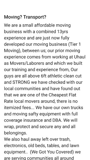 Mover «Tier 1 Moving», reviews and photos