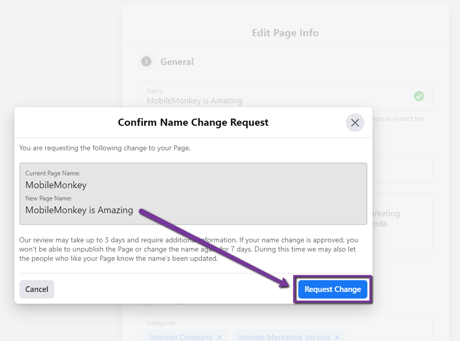 how to change Facebook Page name - Step 6
