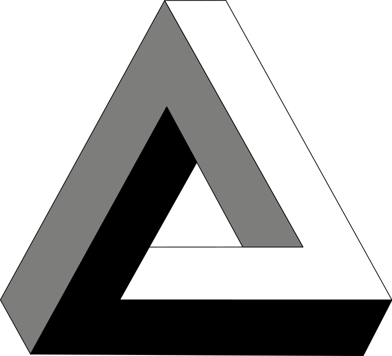 A grey, black, & white penrose triangle.