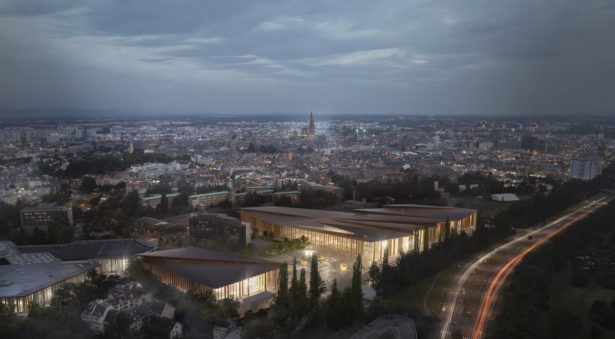 """Vue aérienne du bâtiment en lice le  """"Wacken"""" à Strasbourg"""