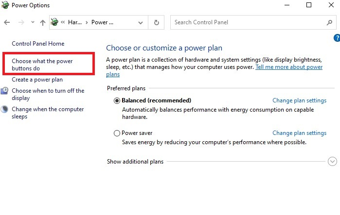 Choose what the power buttons do in control panel