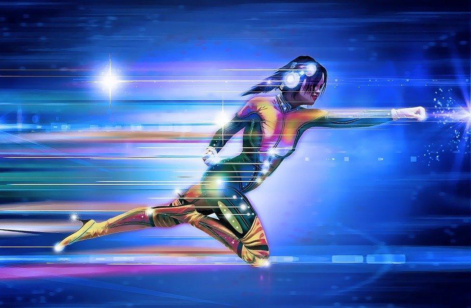 Superhero, Girl, Speed, Runner, Running, Lights, Space