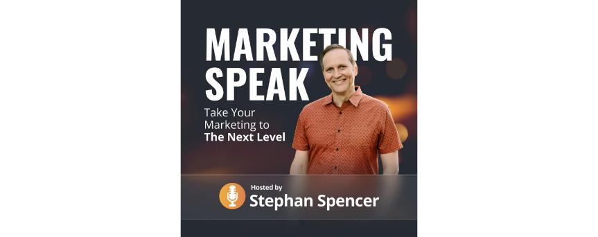 "Marketing Speak Podcasts logo ""take your marketing to next level"""