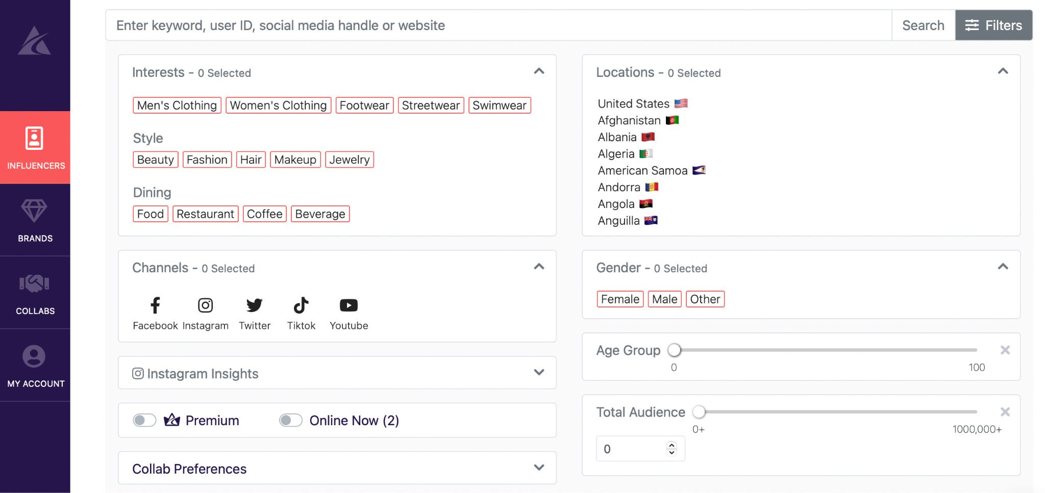 Afluencer app filter options for brands searching for influencers