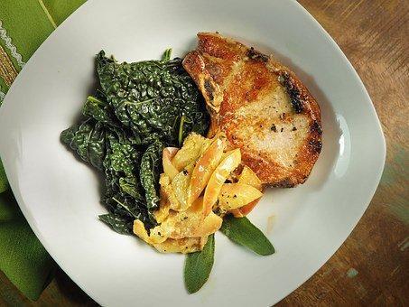 Pork, Chop, Grilled, Kale, Applesauce