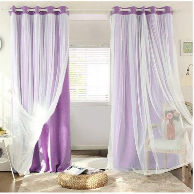 Girls Bedroom Sheer Blackout Curtains For Kids Room