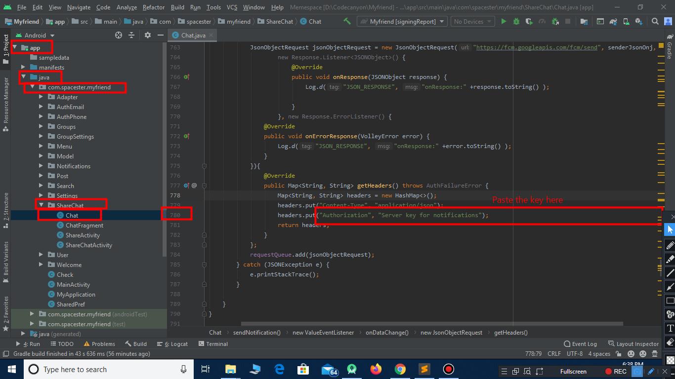 configure key notification for facebook clone script