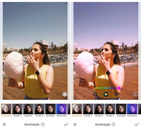 Mulher comendo algodão doce