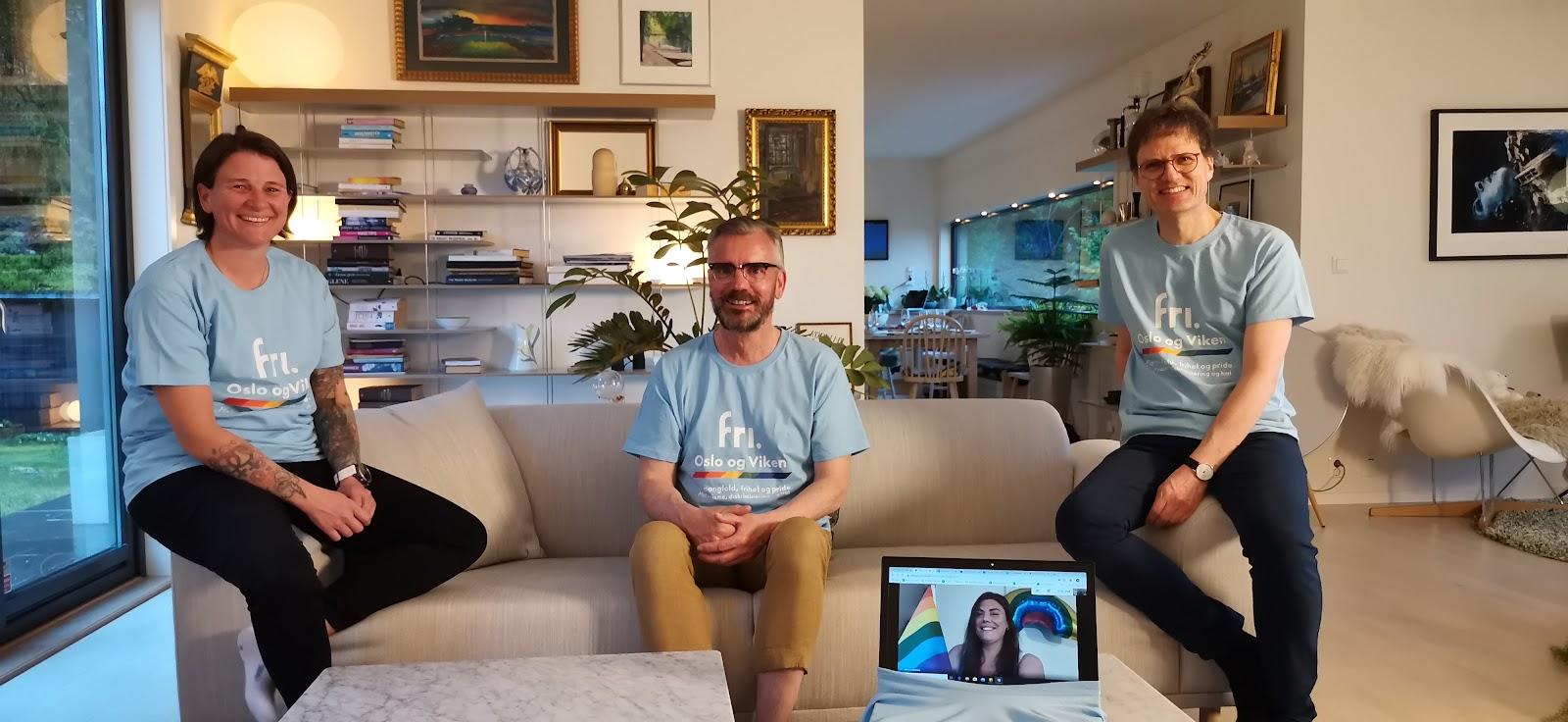 Bilde: Drammen Pride-komiteen 2020, fra venstre: Marianne Holmquist. Øyvind Lundberg Nilsen, Zaira Lo Monaco (på skjerm) og Egil J. Bye. Foto: Petter Ruud-Johansen, Drammen Pride/FRI Oslo og Viken.