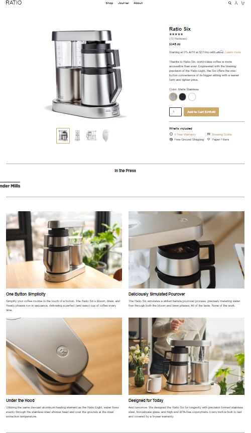 Ratio Coffee's product page
