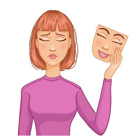 Mujer Con La Cara Triste Y La Máscara De La Cara Feliz En Su Mano, Eps10  Ilustraciones Vectoriales, Clip Art Vectorizado Libre De Derechos. Image  35081609.