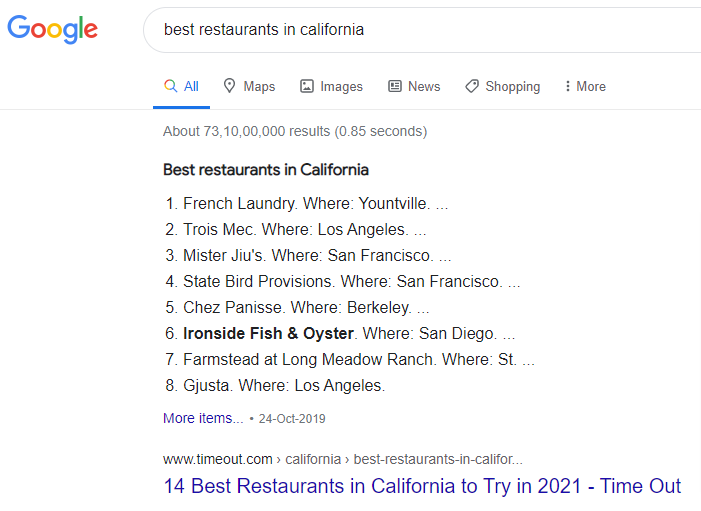 google search restaurants