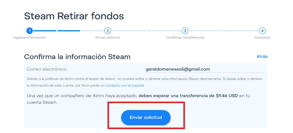 Envía la solicitud para obtener la Tarjeta de Regalo Steam.