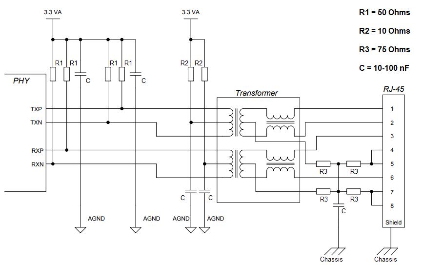 RJ-45 termination schematic)