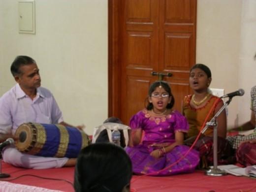 Girl singing Carnatic music