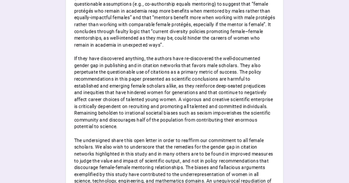 Affirmation of support for female scientists and scholars