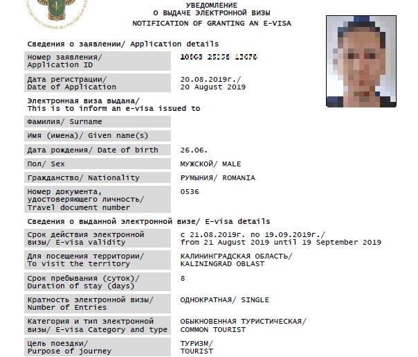 Russia e-visa sample