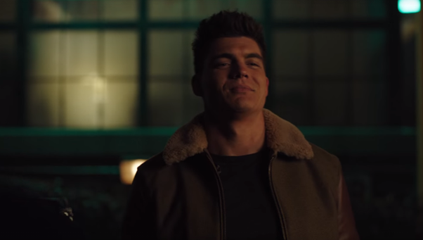 Zane Holtz, as KO Kelly, makes a face like he's trying not to laugh