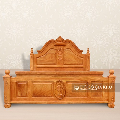 Giường Ngủ Gỗ Gõ Trơn Kiểu Nữ Hoàng - GN142