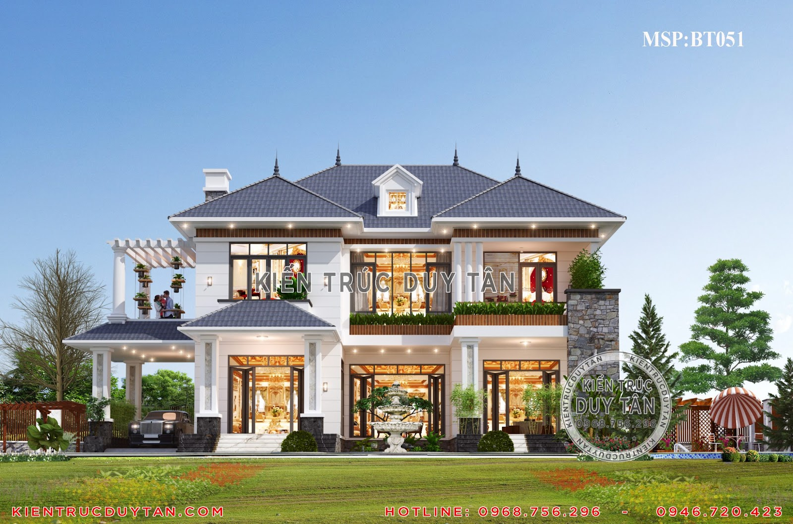 Mẫu nhà biệt thự 2 tầng sân vườn đẹp tại kiến trúc Duy Tân