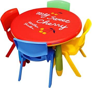 Buy eHomeKart Playgro Plastic Round Table for Kids with Set of 4 Chairs  (Red, Colour May Vary) Online at Low Prices in India - Amazon.in