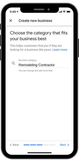 Google My Business-Step 6-Choose Category (i.e. Remodeling Contractor)