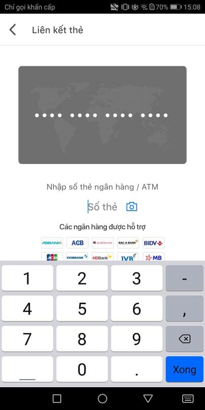 Điền thông tin thẻ mà bạn muốn liên kết