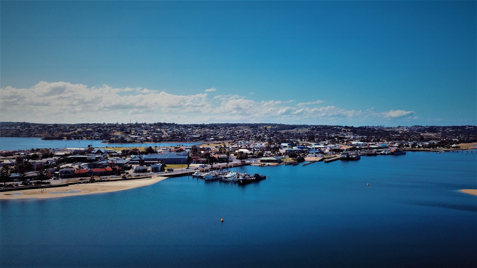 lakes entrance town aerial view on a sunny day from ocean