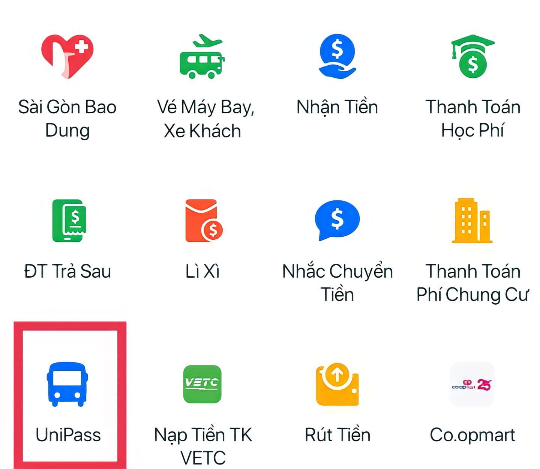 Tải Zalo Pay trên thiết bị di động của bạn và chọn phần UniPass ở trang chủ