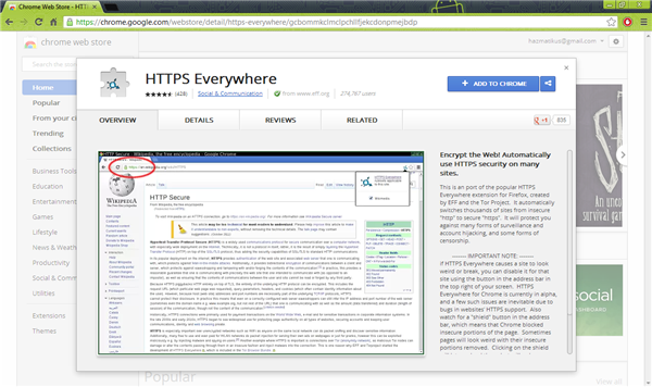Install HTTPS Everywhere on Google Chrome