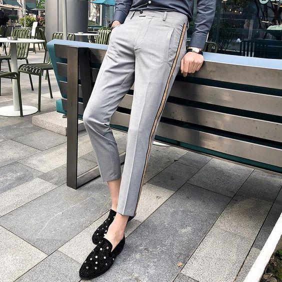 men wearing slim-fit trouser pants