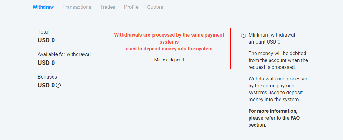 withdrawing your money online from trading on Olymp Trade in India
